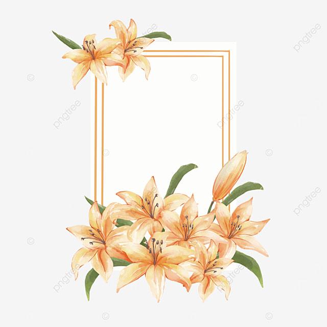 yellow lilies border invitation card greeting card
