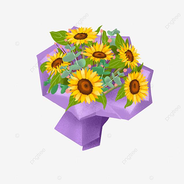 yellow sunflower eucalyptus leaf bouquet clipart