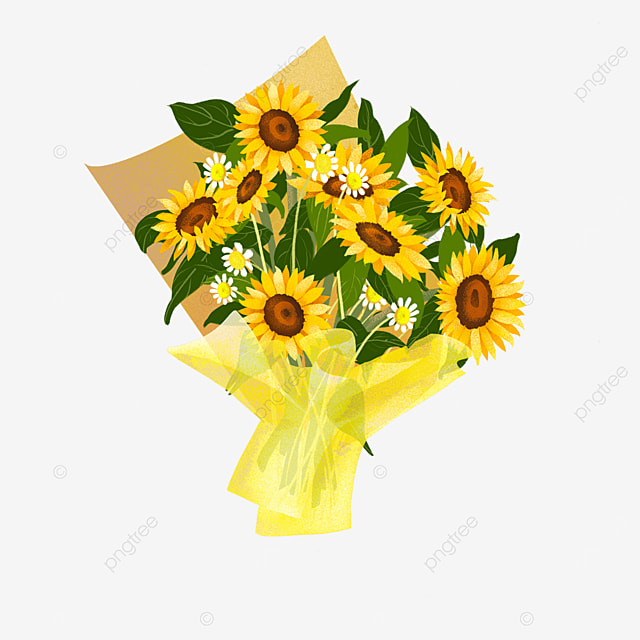 yellow sunflower green leaves small daisy bouquet clipart