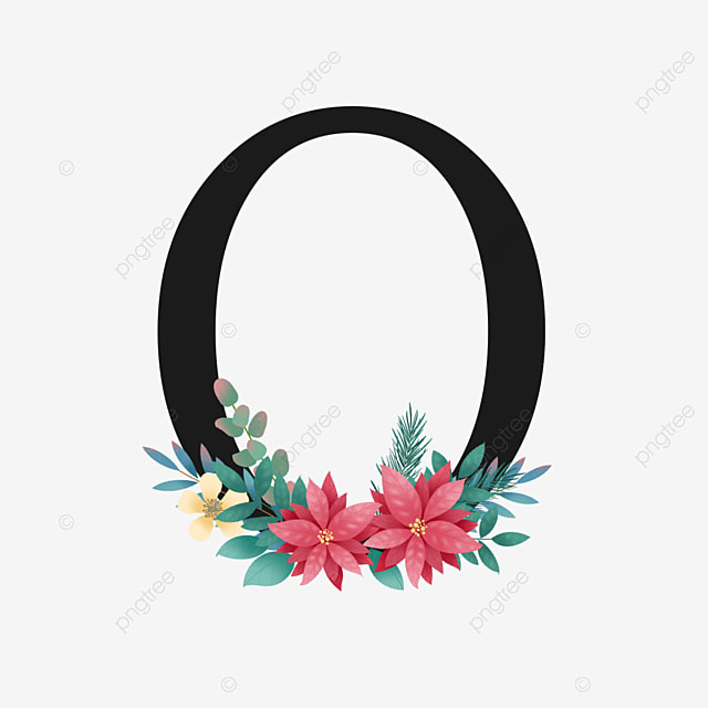 black o letter with yellow and red floral decoration