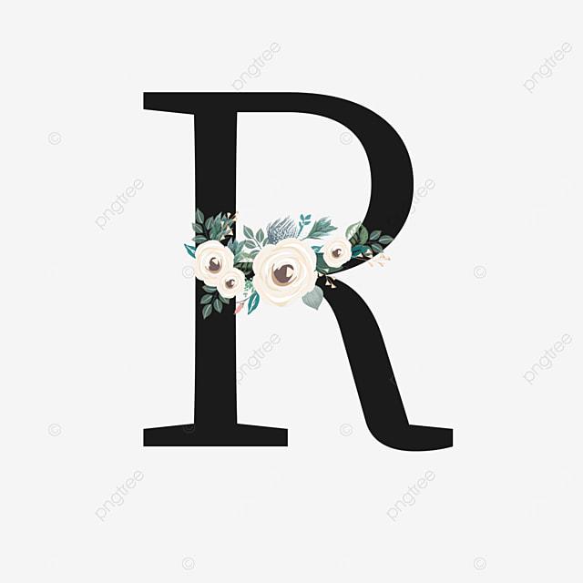 black r letter with white rose flower decoration