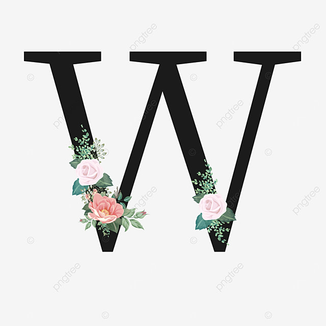 black w letter with rose flower decoration