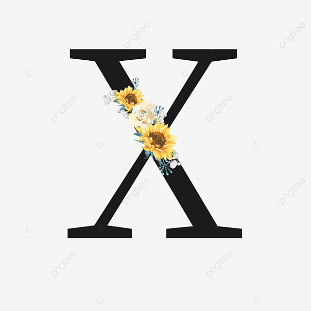 black x letter with yellow sunflower decoration