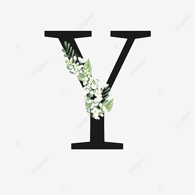 black y letter with white flowers and green leaves decoration