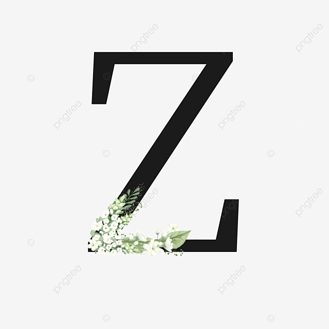 black z letter with white floral decoration