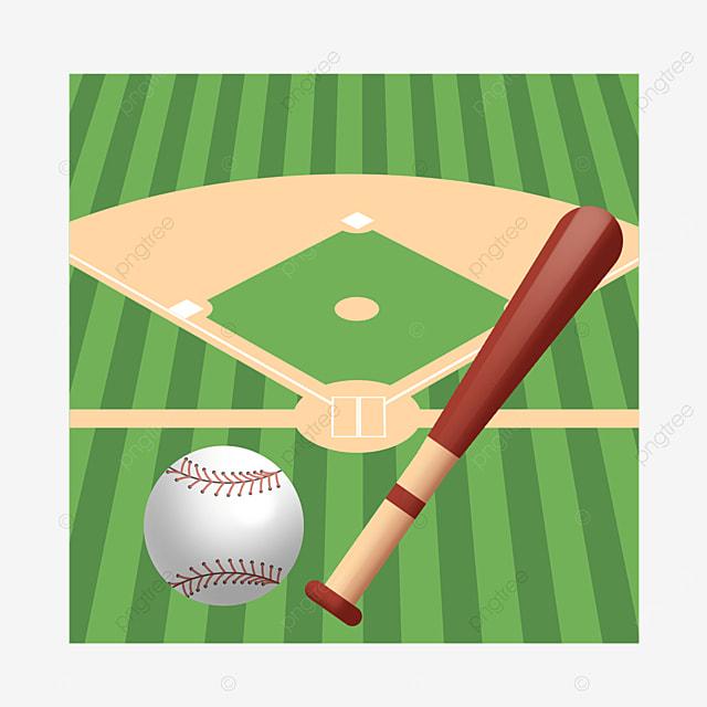 cartoon baseball bat with baseball on baseball field clipart