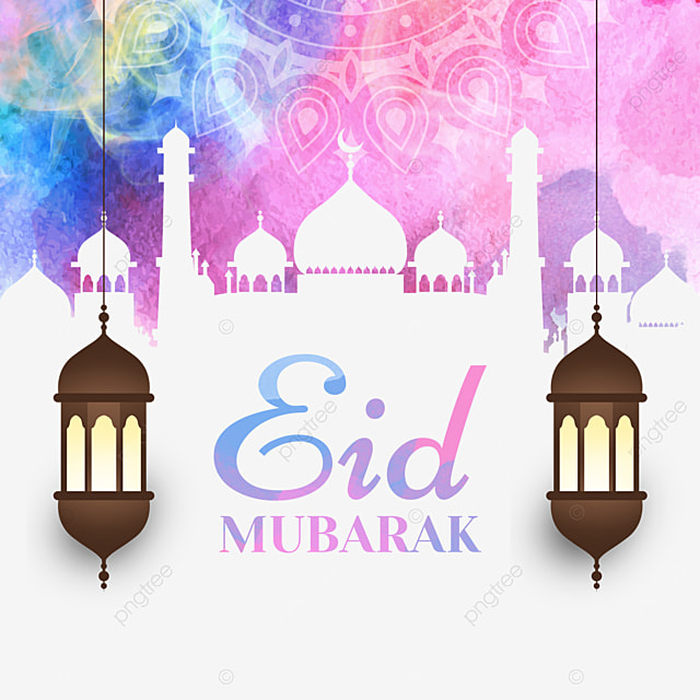 colorful watercolor blooming eid mubarak pattern background architectural cutout silhouette