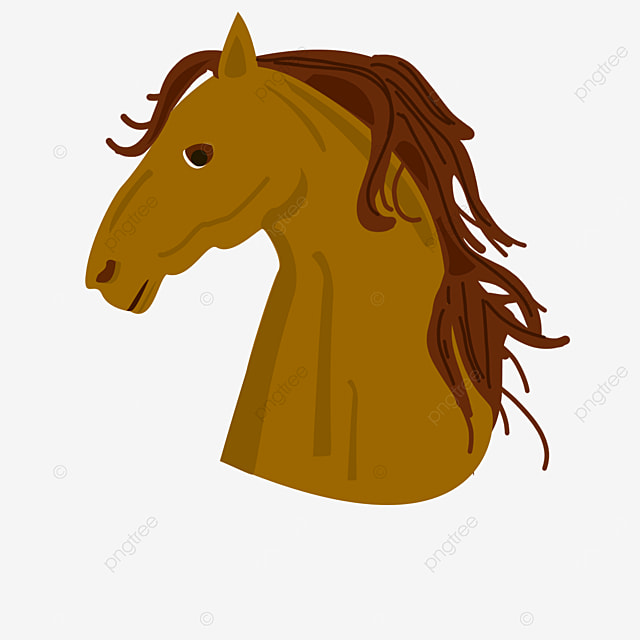 dark yellow red haired horse head side clip art