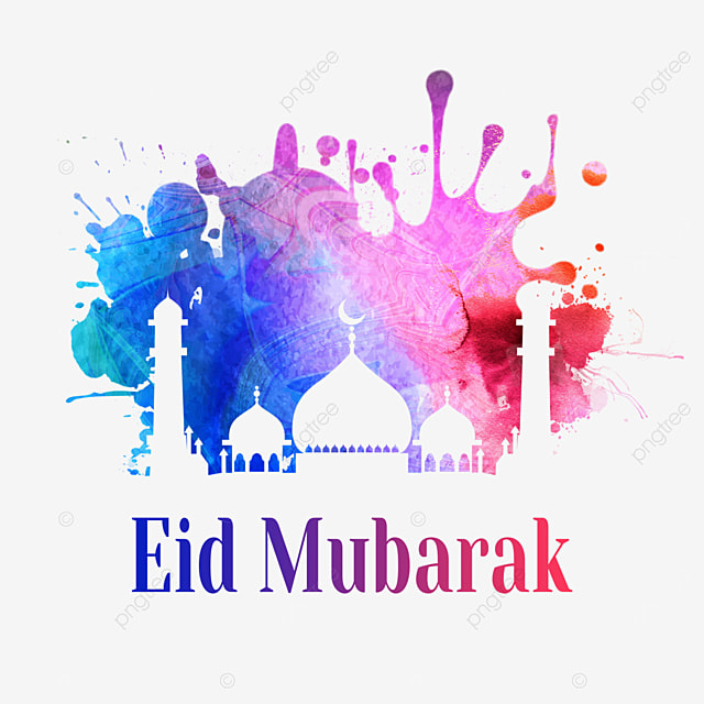 eid mubarak building silhouette with pink and blue splash watercolor smudge
