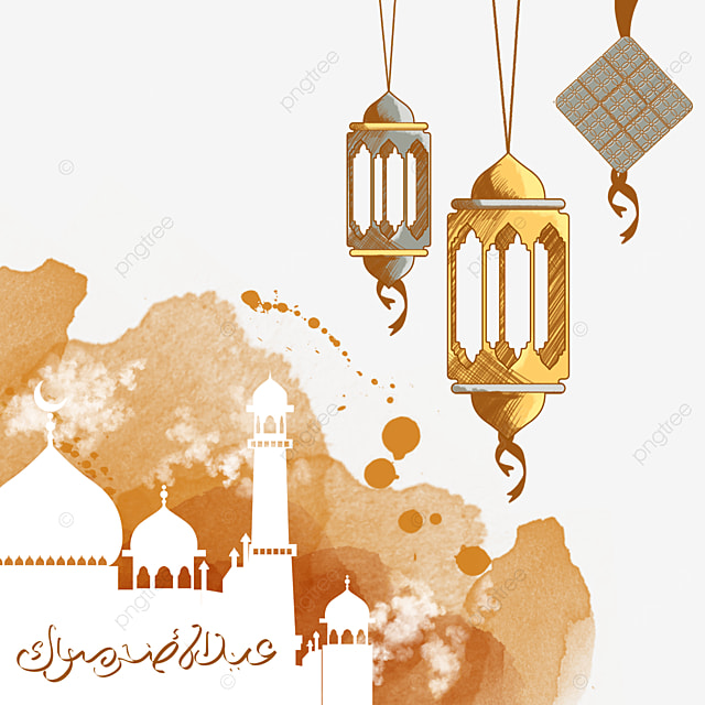 eid mubarak white building silhouette in orange watercolor