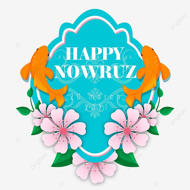 elegant persian new year nawruz festival koi decoration blue label