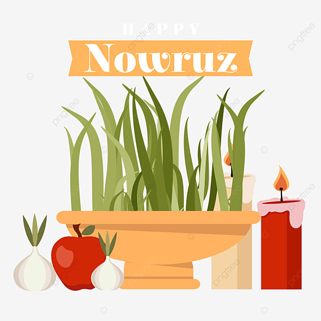 flat wind persian new year nowruz festival fruit candles and seedlings