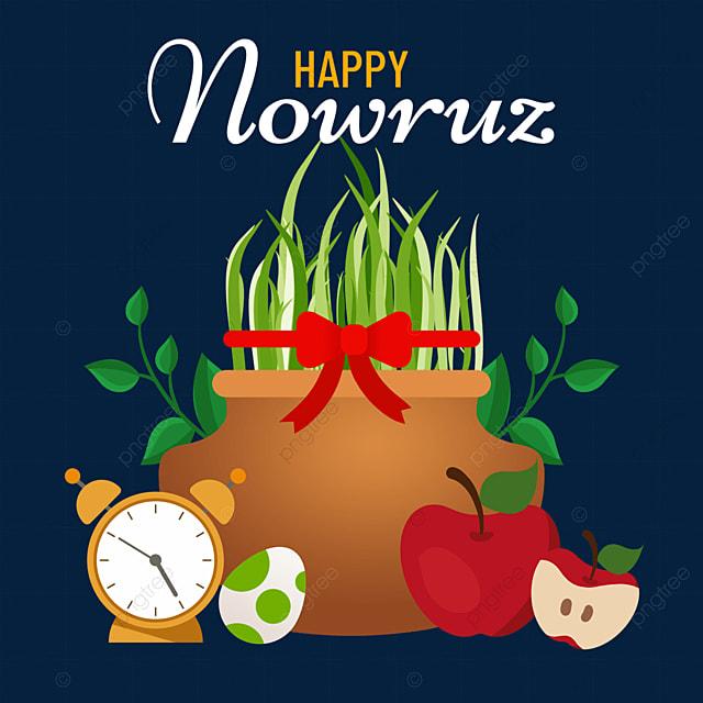 flat wind persian new year nowruz festival alarm clock eggs and seedlings