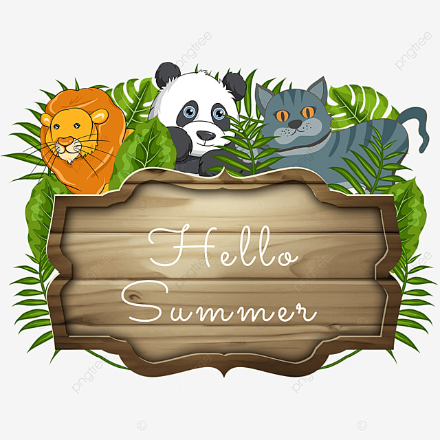 green summer animal wooden banner