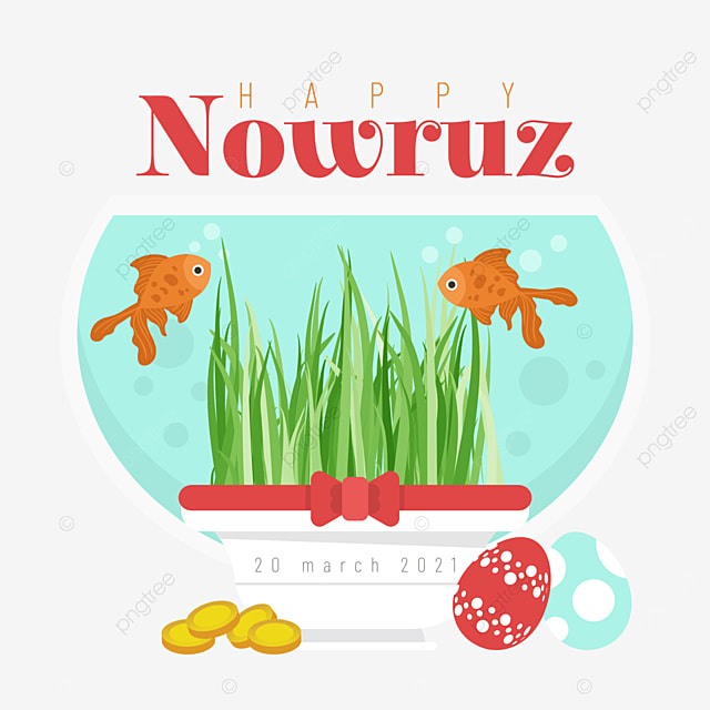 illustration of fish tank and seedlings for persian new year
