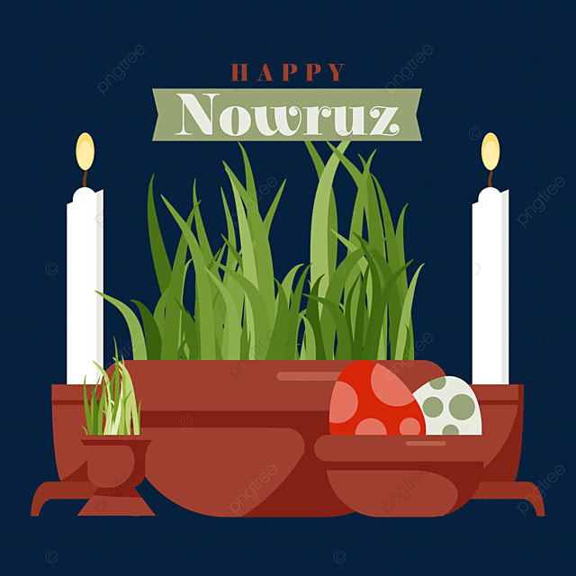 illustration of seedlings and colored eggs in containers for persian new year nawurou