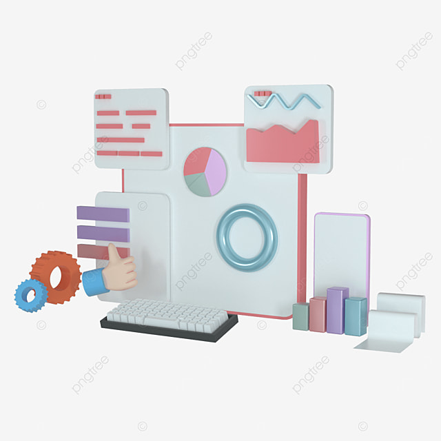 mobile application software and website development with 3d shape bar graph data chart 3d rendering