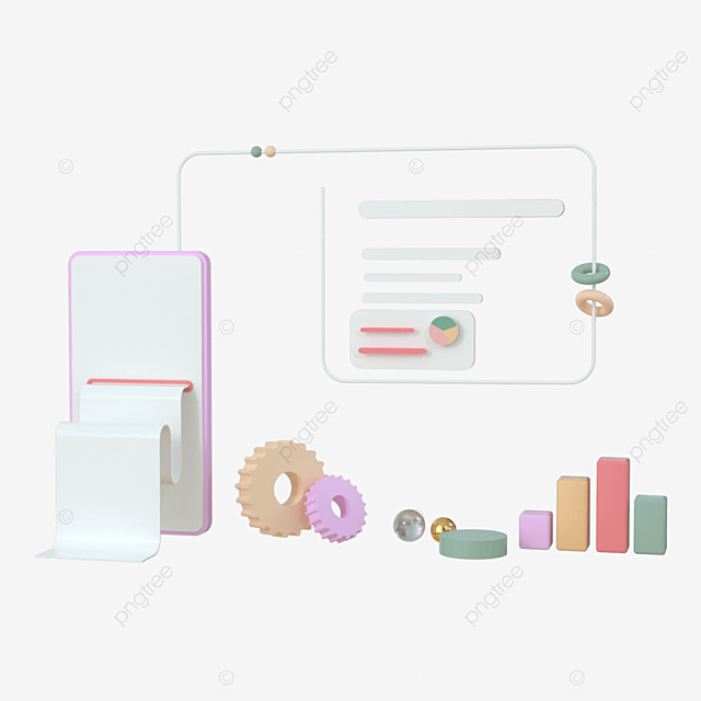 mobile application software and website development with 3d shape bar graph 3d rendering