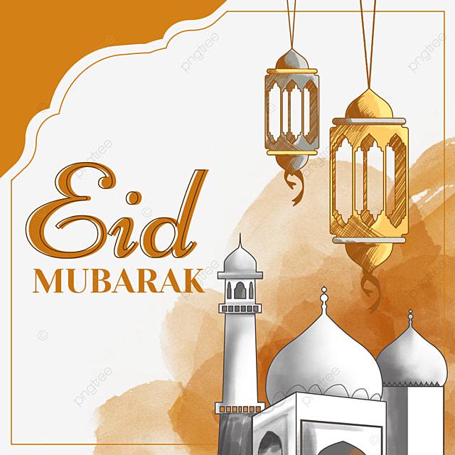 orange watercolor blooming eid mubarak hand painted architectural border