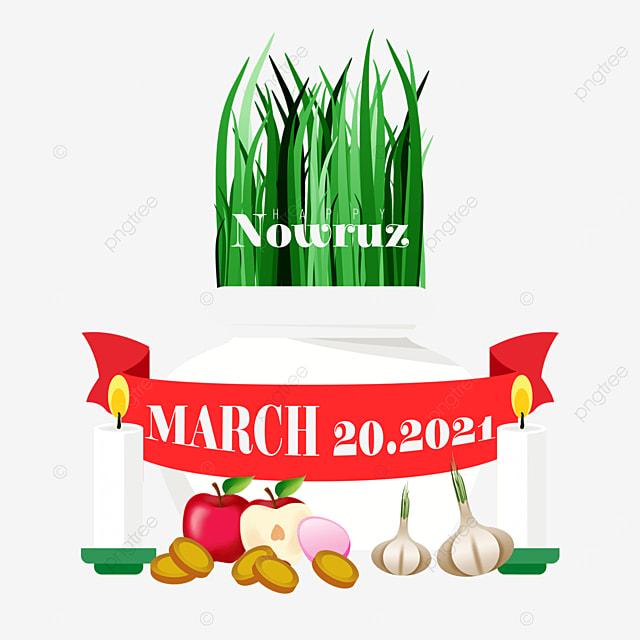 persian new year nawu root seedling apple and garlic illustration