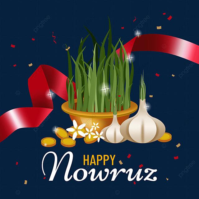 persian new year nowruz festival textured red ribbon seedling illustration