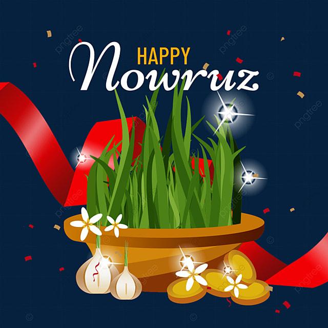 persian new year nawu rouzi festival textured ribbon seedlings and garlic illustration