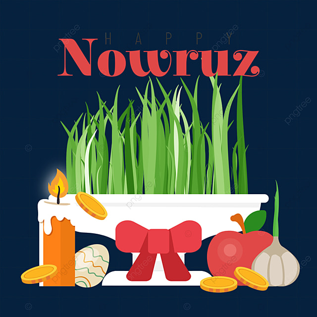 persian new year nowruz festival bow decoration seedlings and fruit illustration