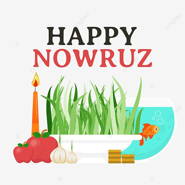 persian new year nawu roz festival candle garlic and seedling illustration