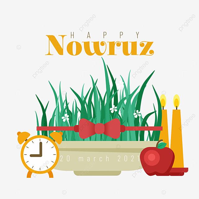 persian new year nowruz festival alarm clock apple and seedling illustration