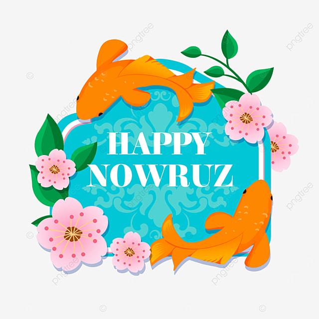 persian new year nowruz festival blue shading koi and flowers illustration