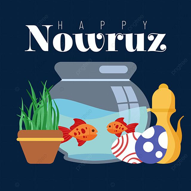 persian new year nowruz festival fish tank and egg flat illustration