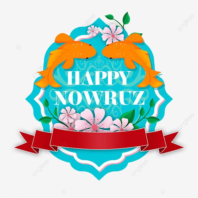 persian new year nowruz ribbon decoration koi and flowers illustration