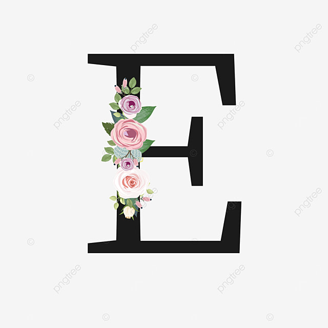 pink rose decorative flower e letter