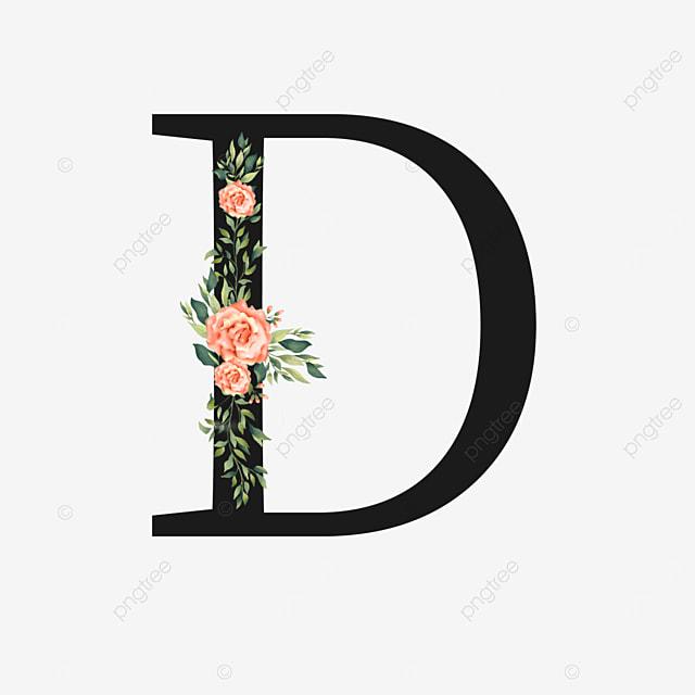 pink rose flower decoration floral letter d