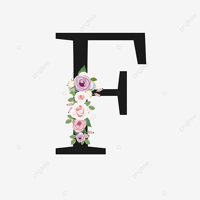 purple rose flower decoration f letter