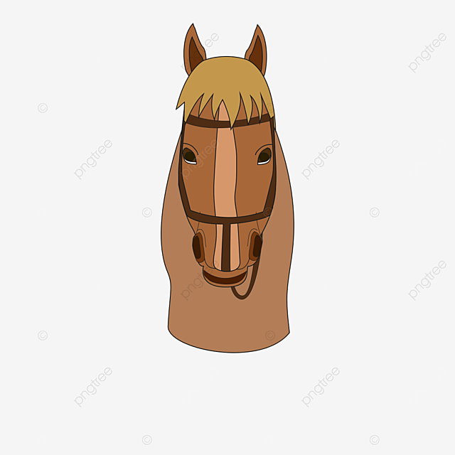 red brown horse head front with saddle clipart