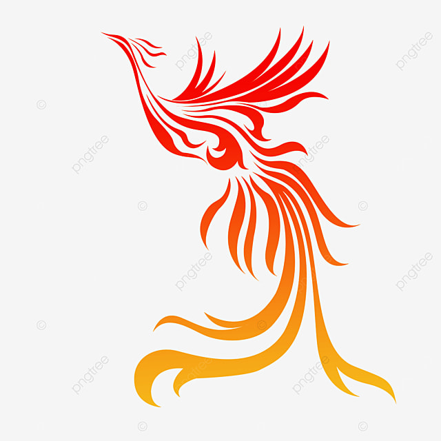 red yellow gradient silhouette phoenix clipart