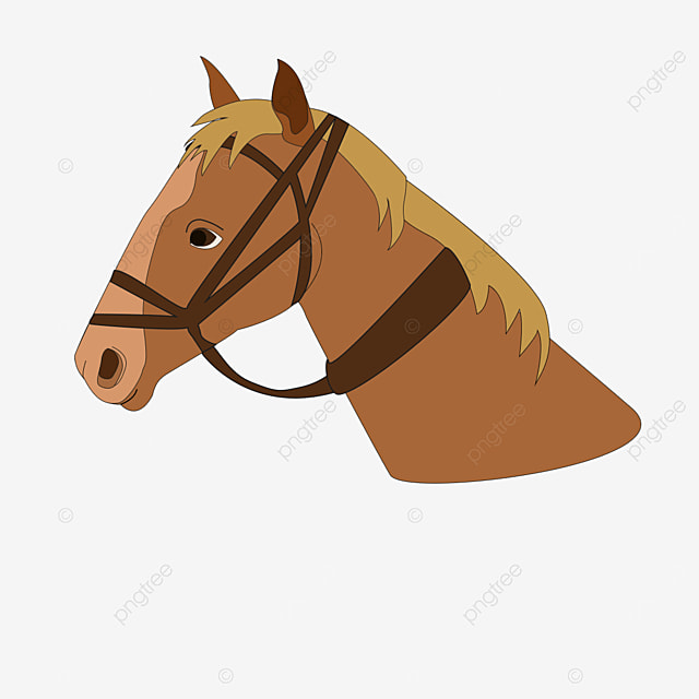 side brown horse head with yellow hair clip art