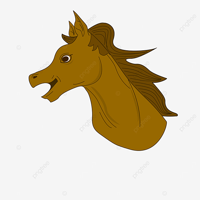 side dark brown horse head clipart