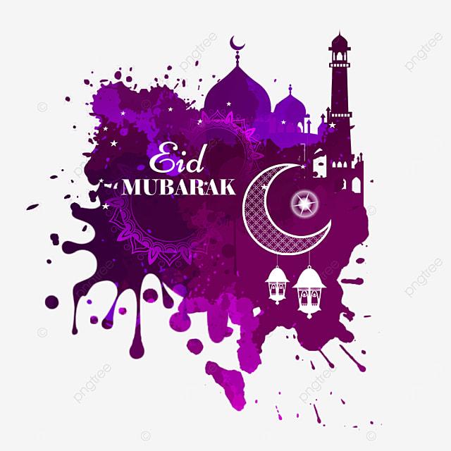 splatter purple watercolor smudge eid building illustration