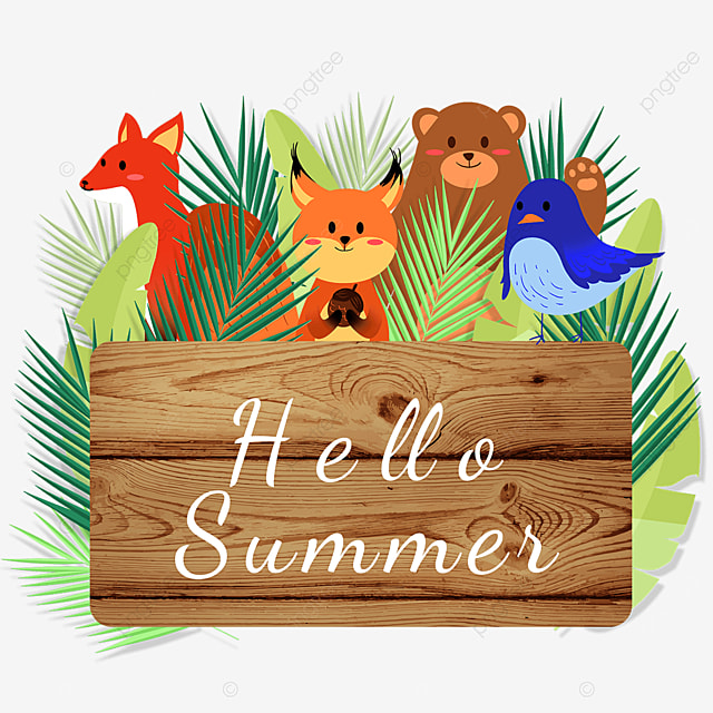 summer animal wooden banner cute season
