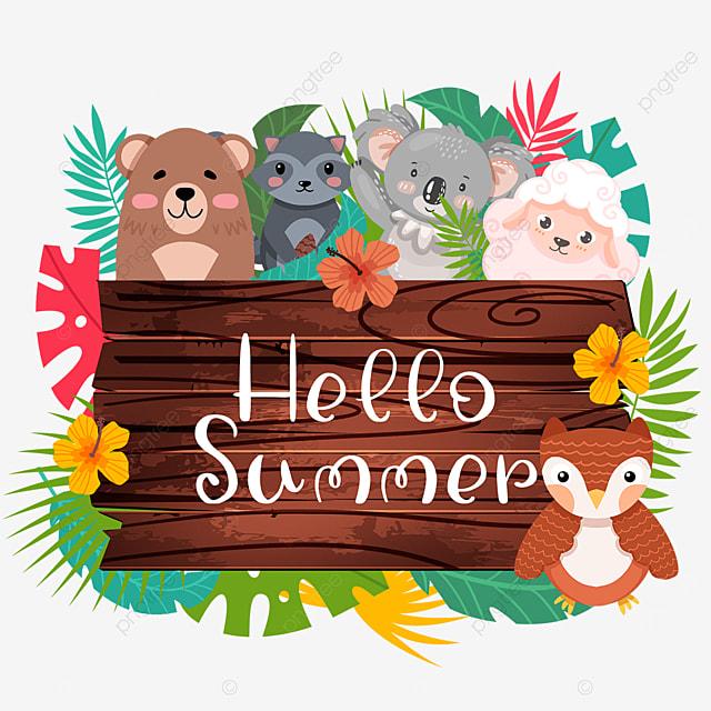 summer animal wooden banner decoration