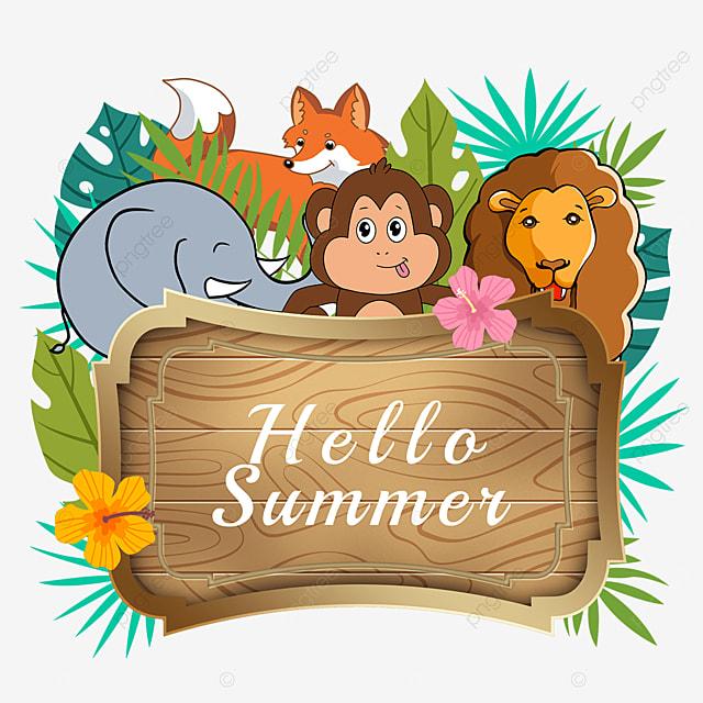 summer animal wooden banner elephant cute