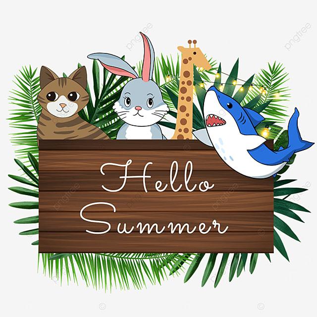 summer animal wooden banner green cute