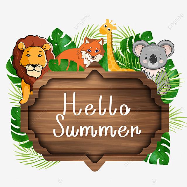 summer animal wooden banner green leaves
