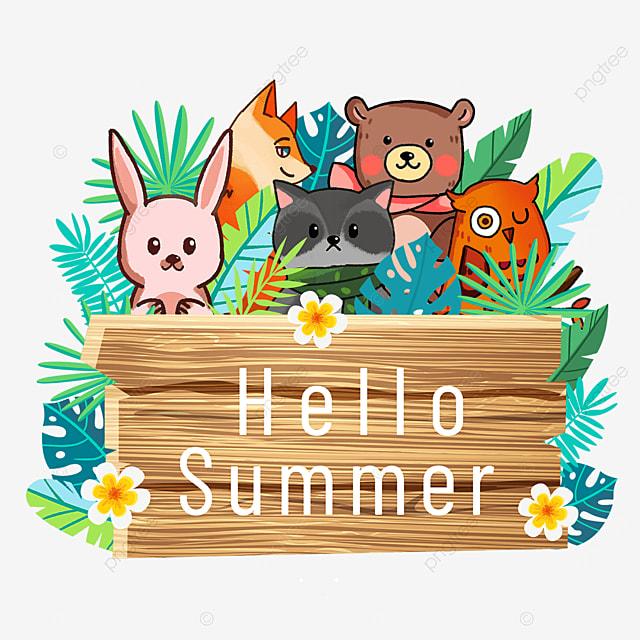 summer animal wooden banner green