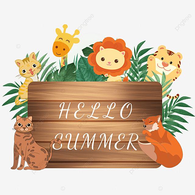 summer animal wooden banner leaves