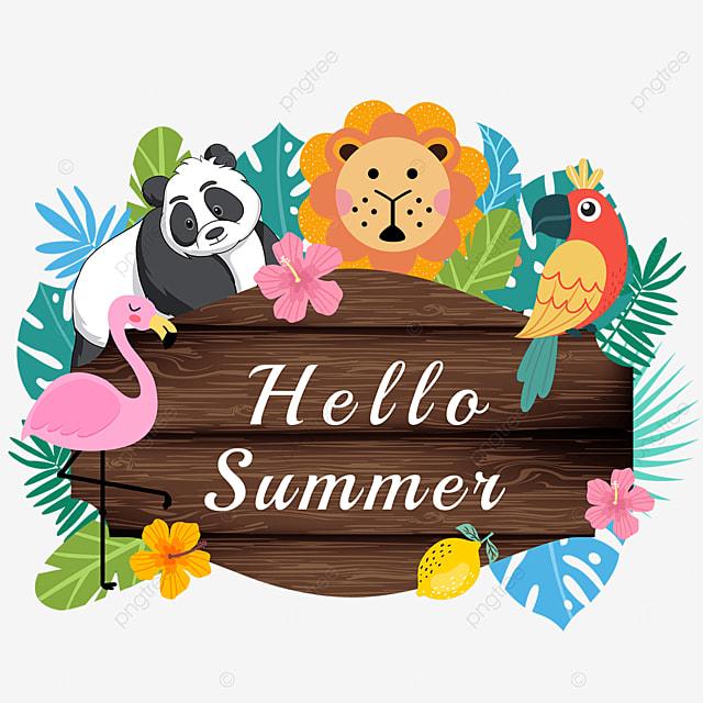 summer animal wooden banner lemon
