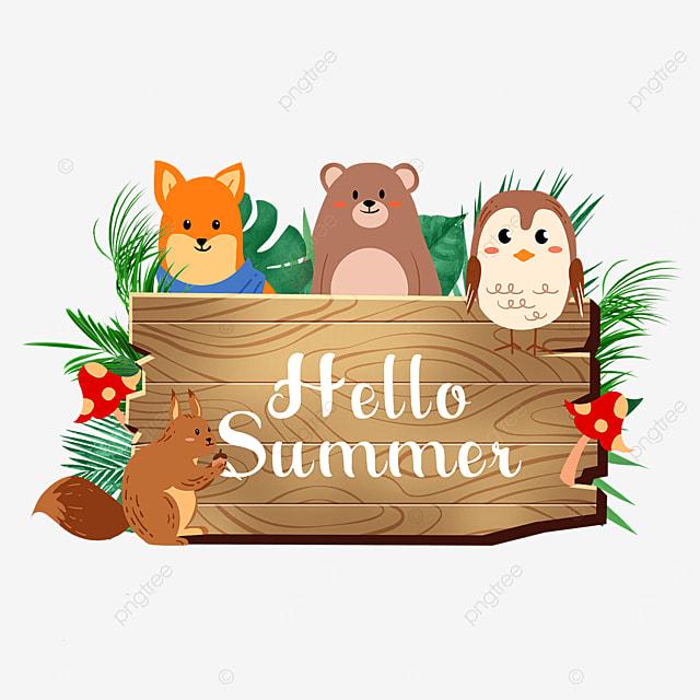 summer animal wooden banner mushroom