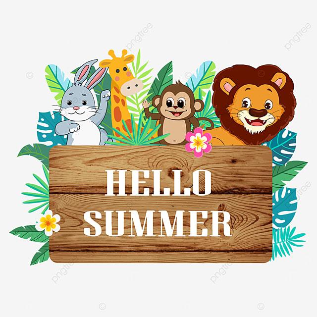 summer animal wooden banner